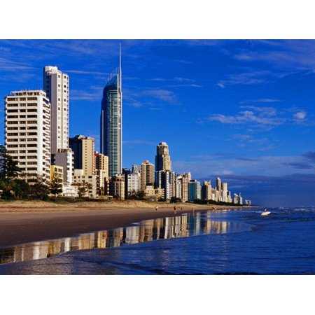 Hi-Rise Apartment Buildings and Surfers Paradise Beach Print Wall Art By Richard l'Anson (Surfers Parade)