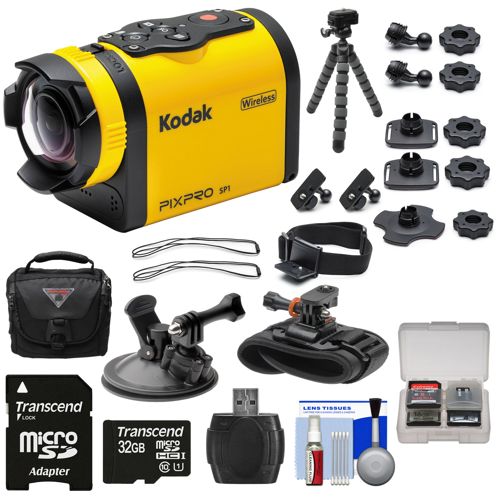 Kodak PixPro SP1 Video Action Camera Camcorder - Aqua Sport Pack with Suction Cup & Wrist Mounts + 32GB Card + Case + Tripod + Kit PixPro SP1