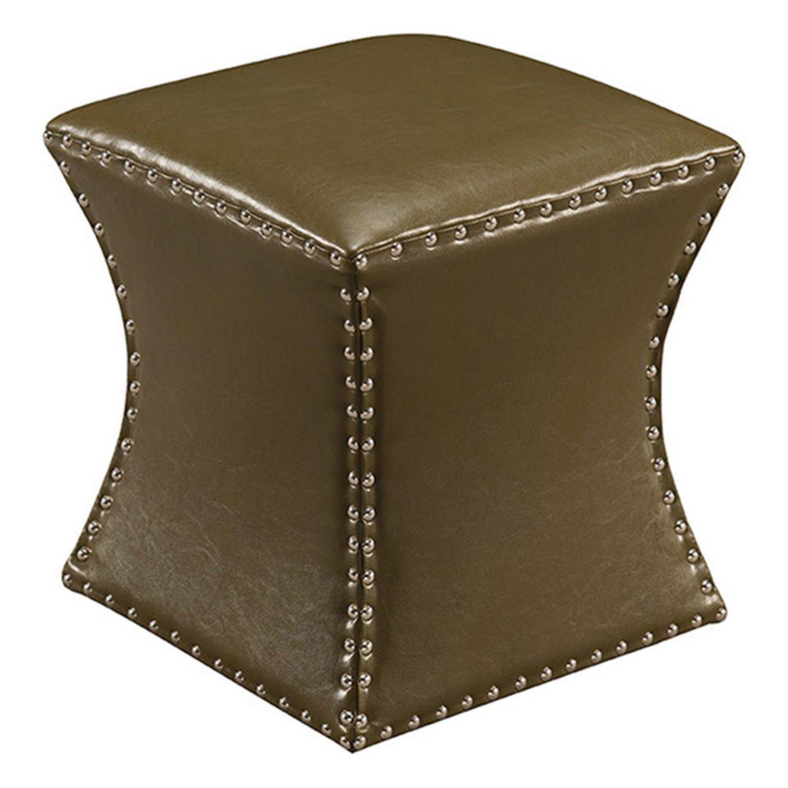 K&B Furniture Faux Leather Square Ottoman