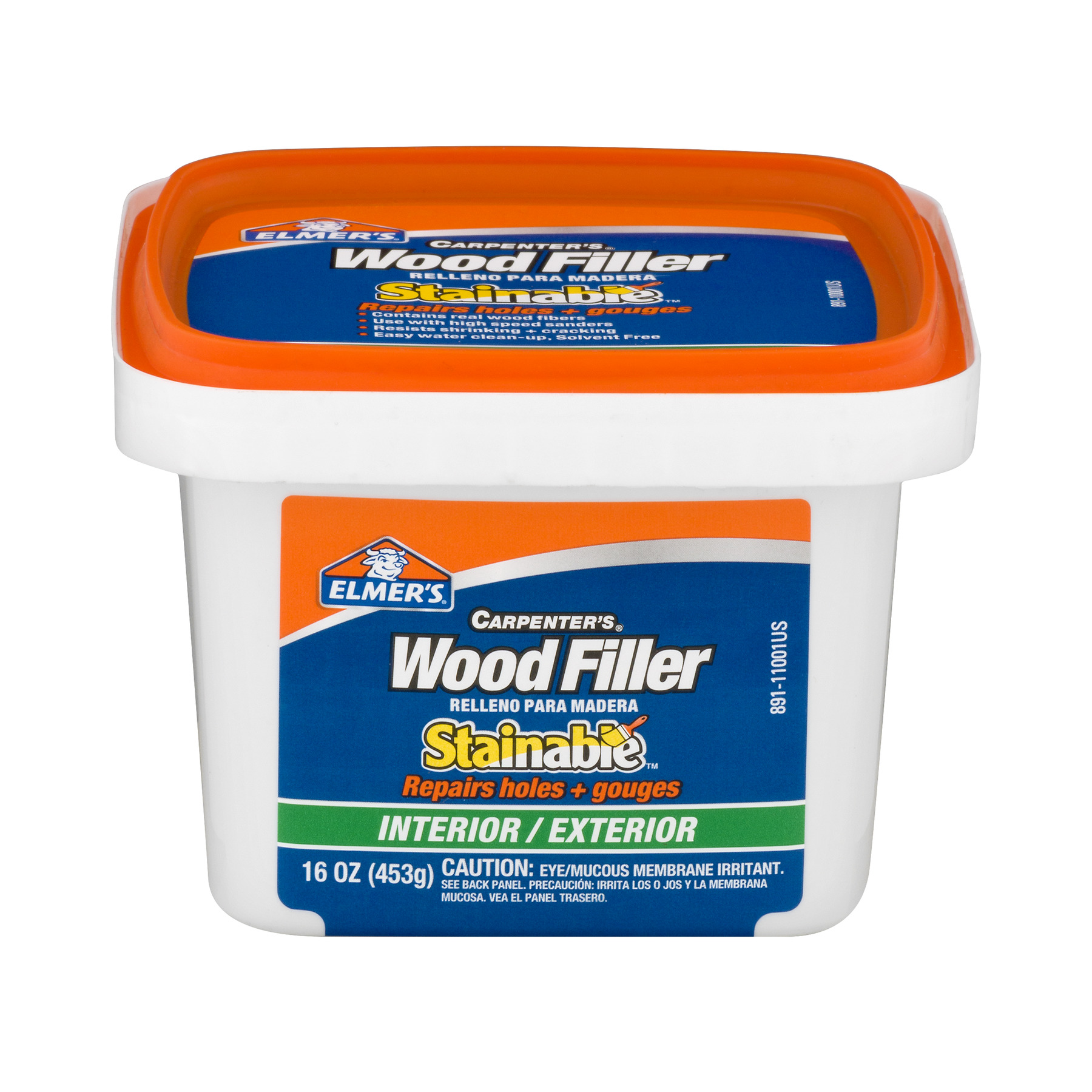 Elmer's Carpenter's Wood Filler Stainable Interior/Exterior, 16.0 OZ