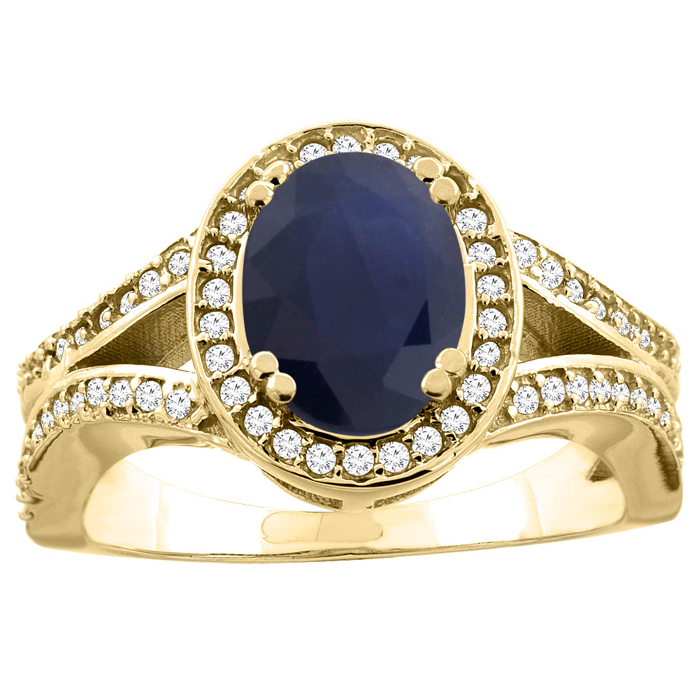 14K Yellow Gold Natural Blue Sapphire Split Ring Oval 8x6mm Diamond Accent, size 5 by Gabriella Gold
