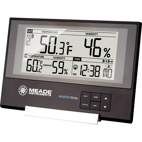 Meade TE256W Slim Line Weather Station with Atomic Clock and Remote Wireless Sensor