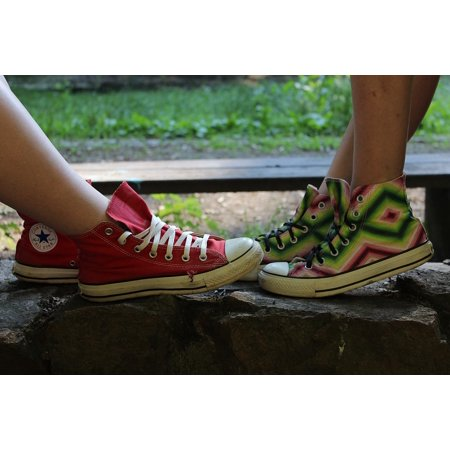 LAMINATED POSTER Girls Sneakers Feet Two Shoes Converse Shoes Poster Print 24 x 36