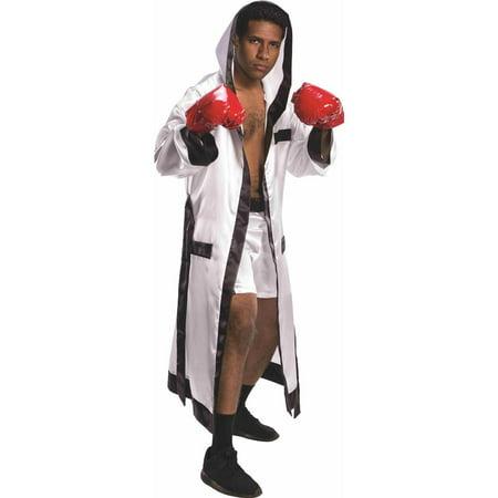 Boxing Champion White Robe & Shorts Adult Costume - Boxing Robe Cheap