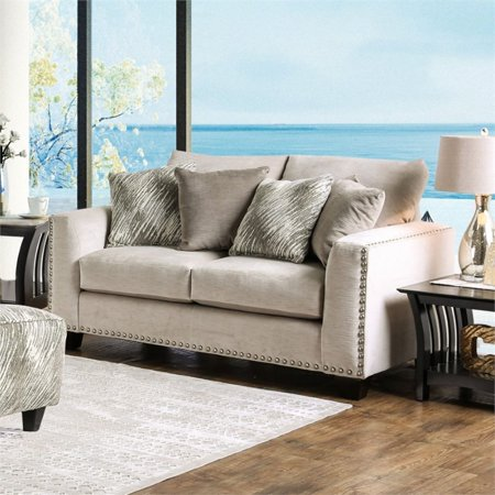 Furniture of America Sophie Fabric Upholstered Loveseat in Light Mocha