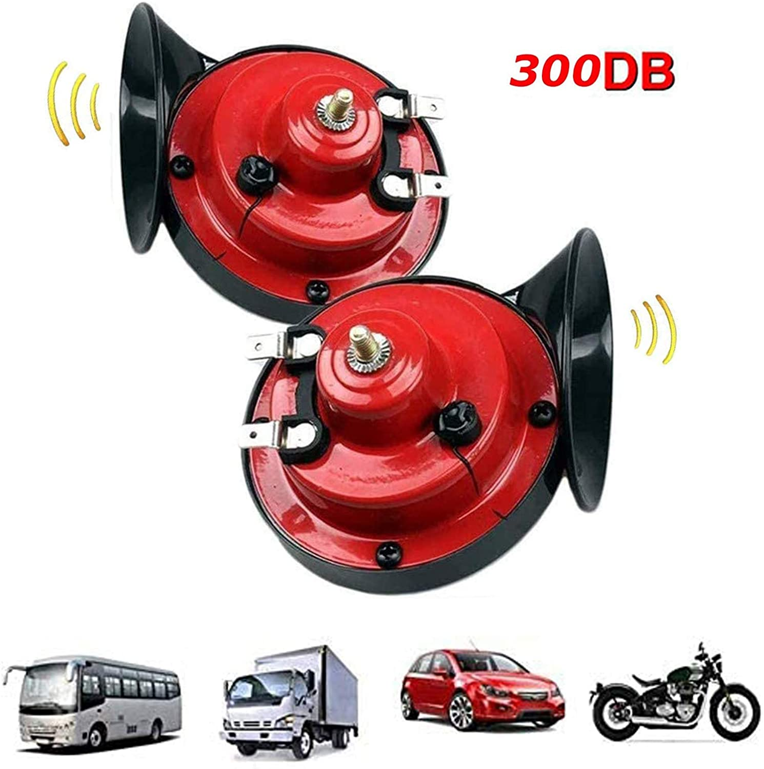 Wiixiong Air Electric Snail Horn for Car Motorcycle Truck Boat Train 300dB Loud 12v Double Tone Universal Waterproof Easy to Install
