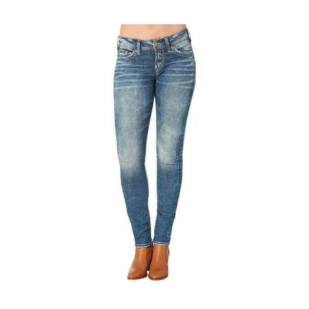 Silver Jeans Denim Womens Elyse Mid Skinny Dark Wash L03116SJL328 (Womens Silver Tuesday Jeans)