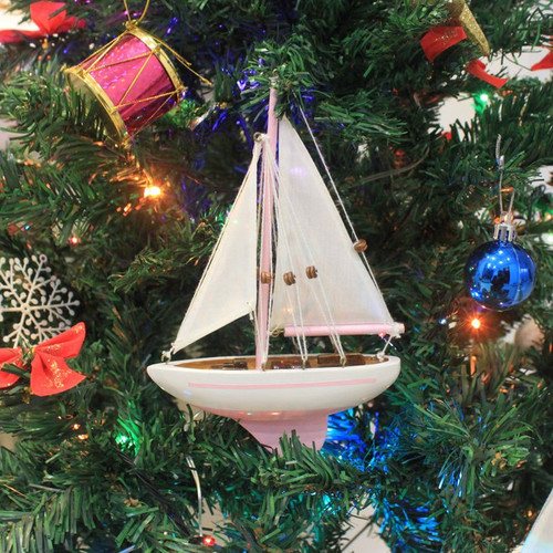 Handcrafted Nautical Decor 9'' Wooden Sailboat Christmas Tree Ornament