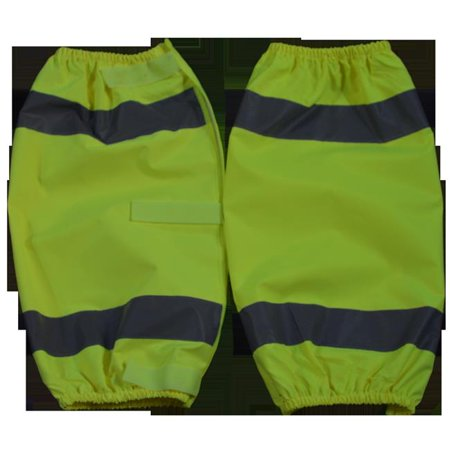 petra roc log-ce 2 x 18 in. ansi class e waterproof reflective leggings with adjustable cloth hook and eye closures, one size