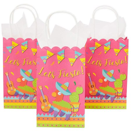 Holiday Party Themes (24 Pack Let's Fiesta Scalloped Party Gift Bags with Handles, 9 x 5.3 x 3.15 inches Mexican Theme Party Favors for Kids Birthday, Cinco de Mayo, School Celebrations, Festive Holiday)