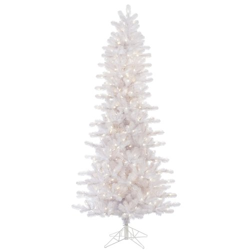 The Holiday Aisle 10' Slim Crystal White Pine Artificial Christmas Tree with 950 LED Warm White Lights with Stand