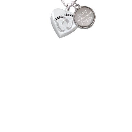 Silvertone Baby Feet Heart Locket Sisters Are Best Friends Forever Engraved Necklace