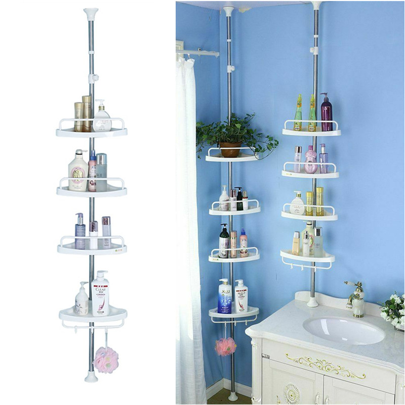 4 Layer Shower Corner Caddy Pole Shelf Adjustable Telescopic Bathroom Corner Shelf Wall Storage Holder Walmart Com Walmart Com