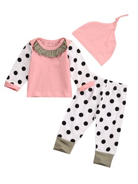 Newborn Baby Girl Long Sleeve Tops T-Shirt + Dot Pants + Pink Hat Outfits Clothes Clothing Set