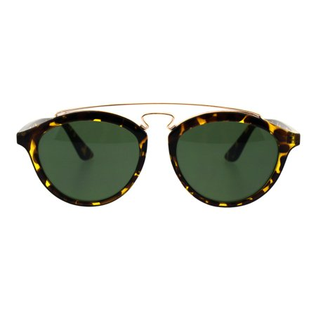 Retro Keyhole Flat Top Double Metal Bridge Round Horn Sunglasses Yellow Tortoise Green (Ray Ban Round Metal Green)
