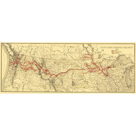 (Old Railroad Map - Northern Pacific Railway - Poates 1900 - 23 x 60.62)