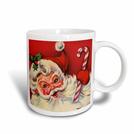3dRose Santa and the Candy Cane, Ceramic Mug, 11-ounce