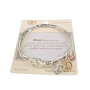 Peace Inspirational Bangle Bracelet My Peace I give to you Let your heart be not afraid.