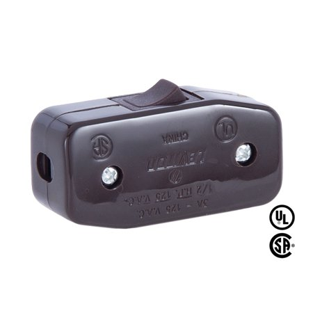 B&P Lamp® Brown, Heavy Duty Rocker Switch for Round Lamp Cord ()