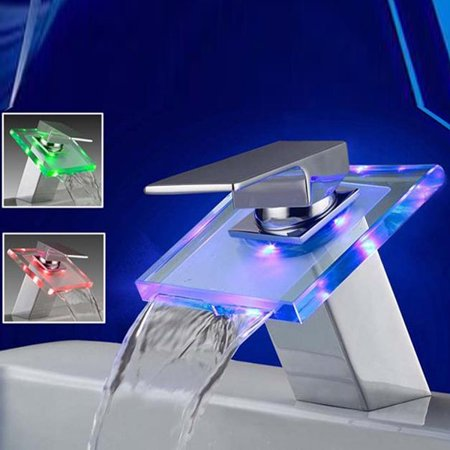 Modern LED Faucet Glass bathroomfaucet Waterfall Bathroom Bathtub 3 Color Basin Sink Mixer Tap One Handle