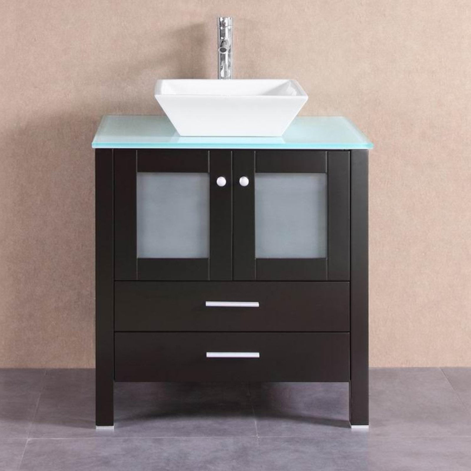 Belvedere 30 in. Modern Single Vessel Bathroom Vanity with Glass Top by Overstock