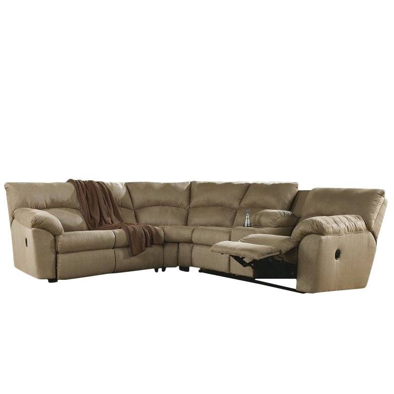 Ashley Furniture Amazon 2 Piece Fabric Reclining Sectional in Mocha  sc 1 st  Walmart : ashley mocha sectional - Sectionals, Sofas & Couches