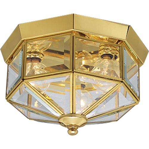 Progress Lighting P5788 3 Light Flush Mount Outdoor Ceiling Fixture With  Beveled