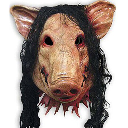 YiYi Operation Halloween Latex Cosplay Pig Head Mask Hair Horrible Animal Saw - Operation Halloween