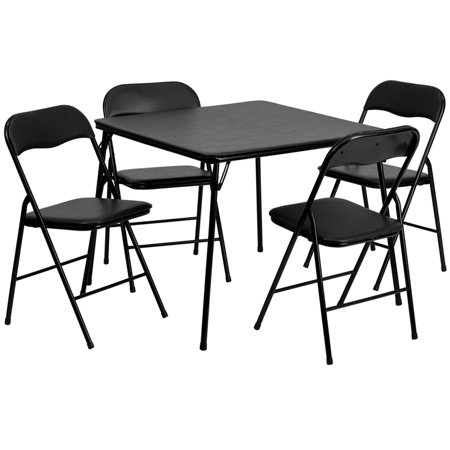 5 Piece Black Folding Game Room Card Table and Chair (Wood Folding Card Table And Chairs Set)