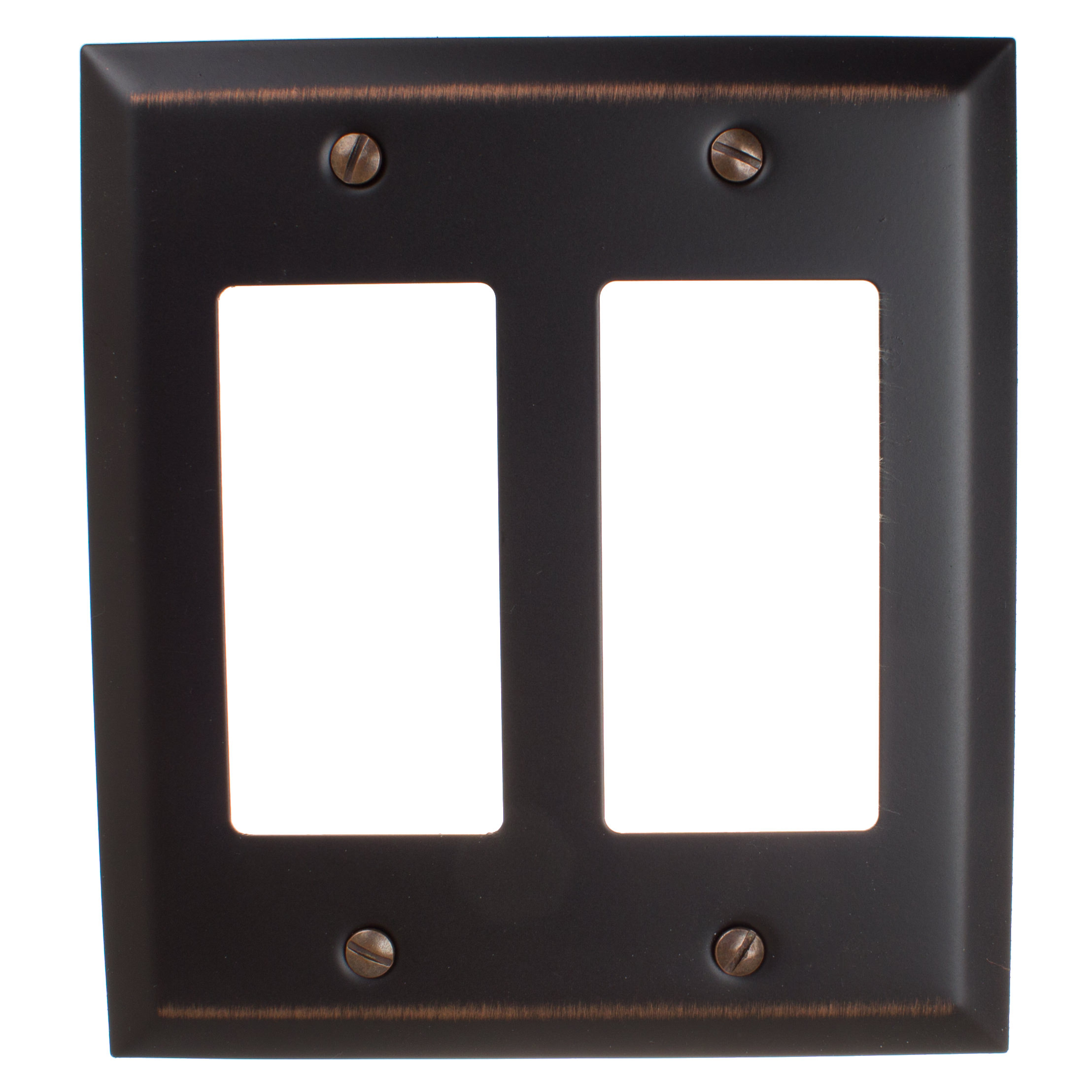 GlideRite Hardware Double Rocker 2-Gang Beveled Edge Wall Plate Cover, Brushed Nickel