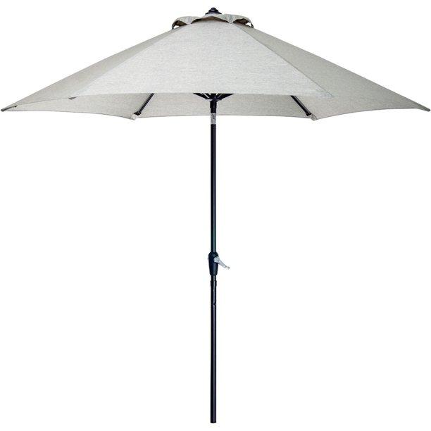 Hanover Lavallette 9 Patio Umbrella Outdoor Table Umbrella With Crank Lever And Tiltable Feature In Gray Walmart Com Walmart Com