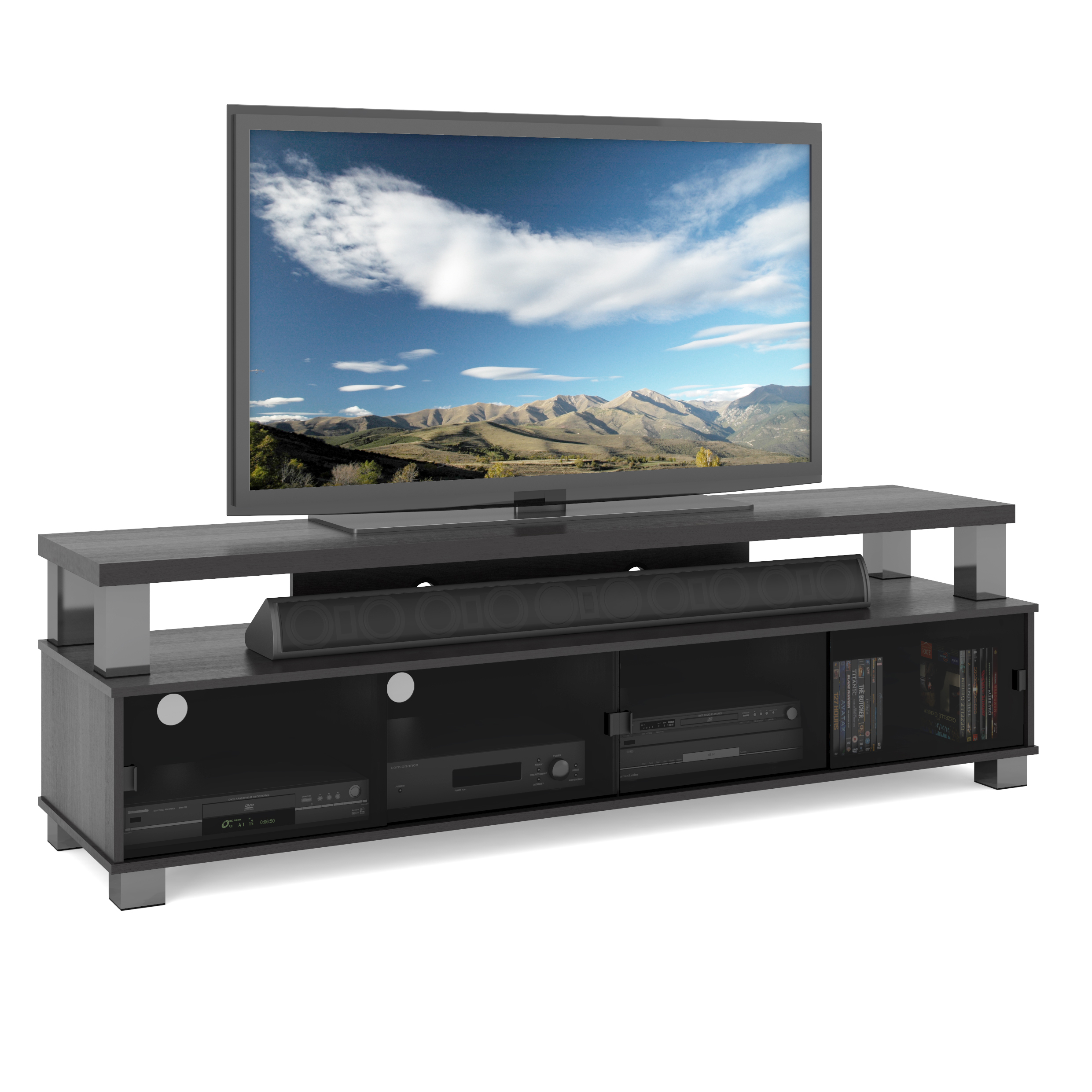 """CorLiving Bromley Ravenwood Black Two Tier TV Bench for TVs up to 80"""""""