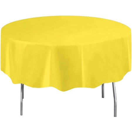 Neon Yellow Plastic Party Tablecloth, Round, 84in