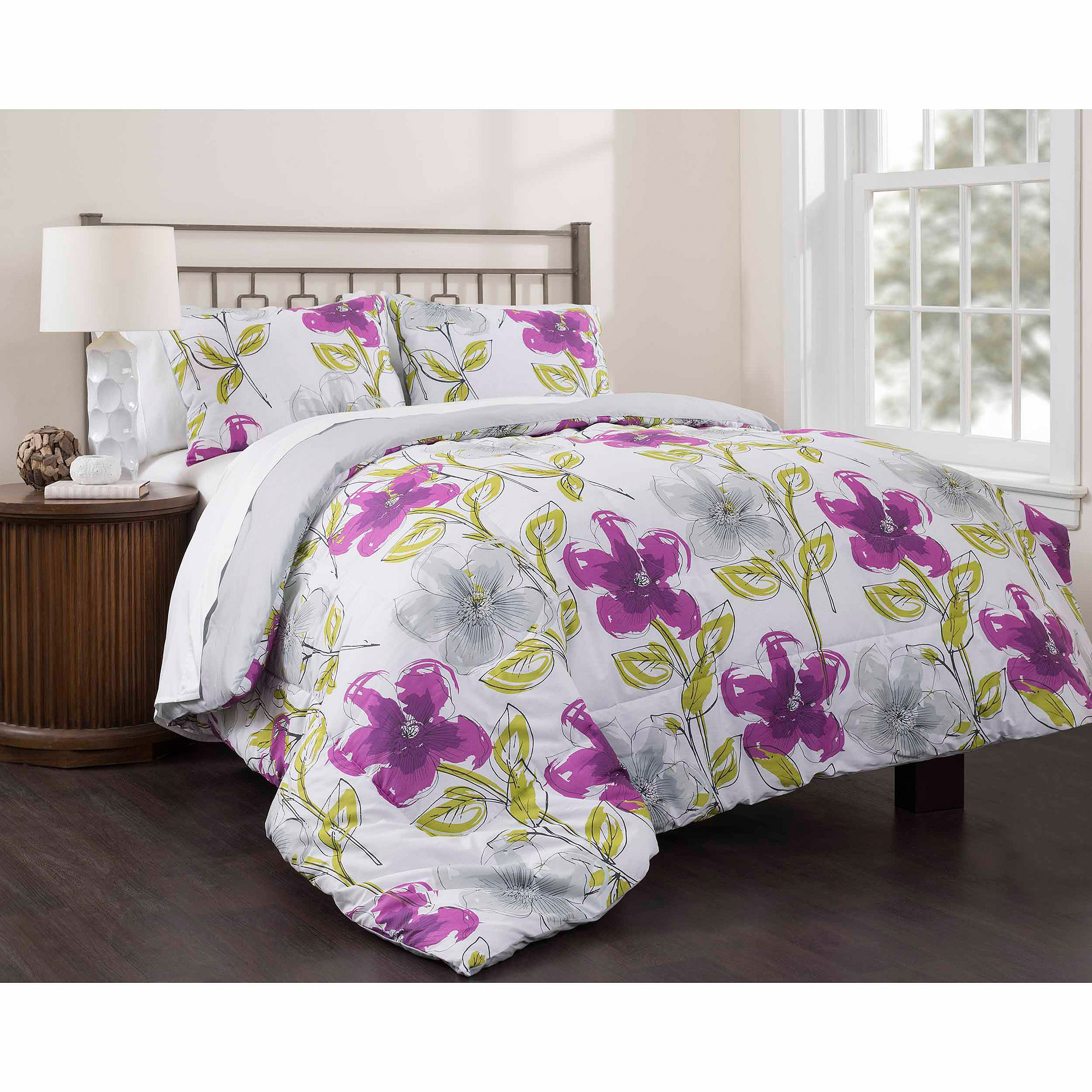 East End Living Dream Garden 3-Piece Bedding Duvet Set, Full Purple