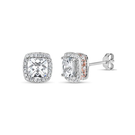 18k Rose Stud - Cushion Cut White Cubic Zirconia Sterling Silver and 18k Rose Gold Over Sterling Silver Filigree Sides Stud Earrings