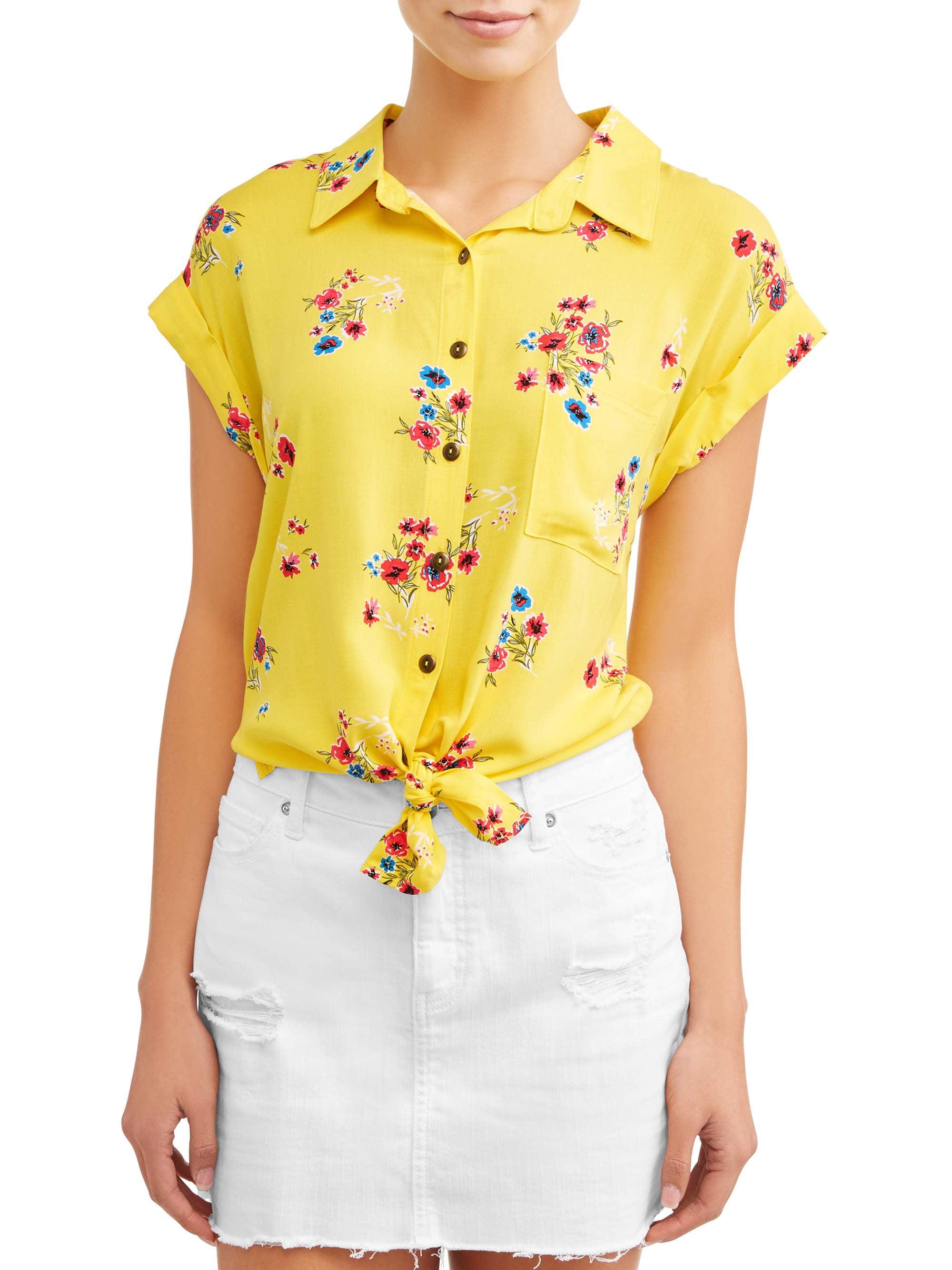 Juniors' Floral Printed Button Tie Front Cap Sleeve Blouse