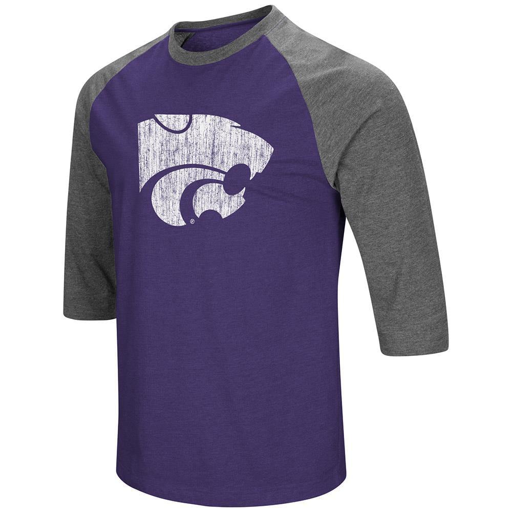 Mens Kansas State Wildcats 3/4 Sleeve Raglan Tee Shirt - S