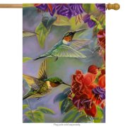 "Hummingbird Spring House Flag Vibrant Flowers Flying Wildlife 28"" x 40"""