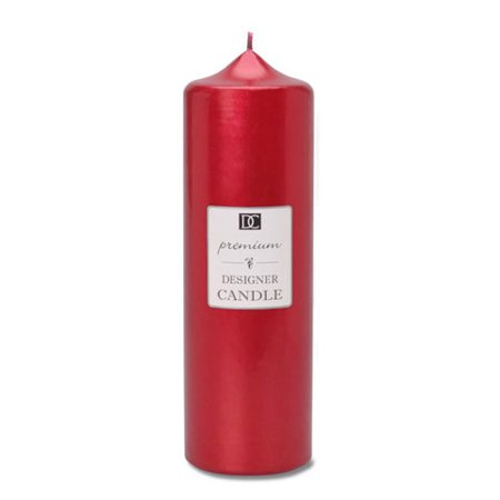 Pillar Candle - Metallic Red - 2.8 x 8 inches (Metallic Spiral Candles)