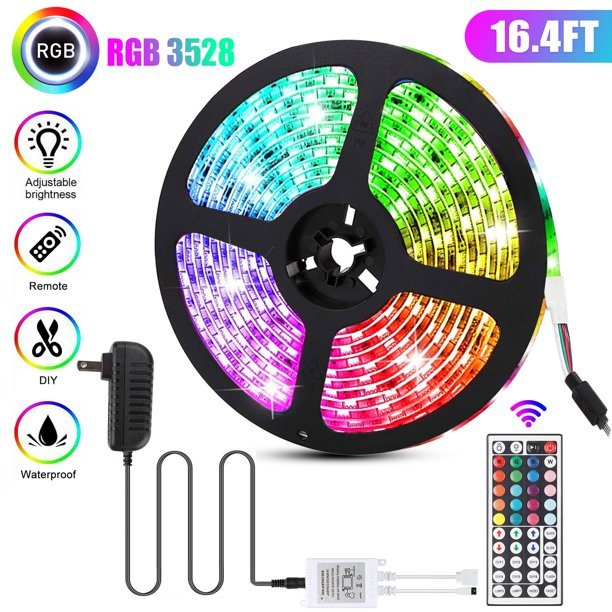 Eeekit 16 4ft 300 Led 3528smd Light Strip Multi Color Changing Includes 44 Key Remote 12v Power Supply For Home Lighting Kitchen Bed Bar And Decor Walmart Com Walmart Com