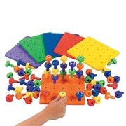 """Stacking Pegs With Board - 8.5"""" Square Board, Pegs 2"""" - Includes 2 Boards And 60 Pegs - Assorted Colors - Fun Game For Kids, Montessori, Occupational Therapy, Motor Skills, Autism."""