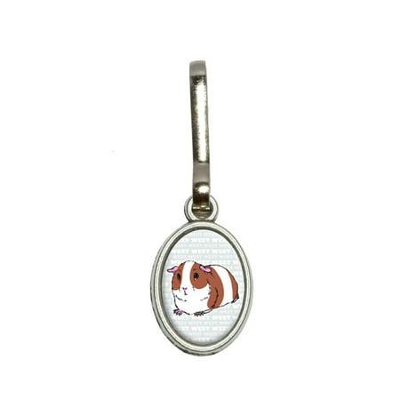 Guinea Pig Weet Gray - Pet Oval Zipper Pull