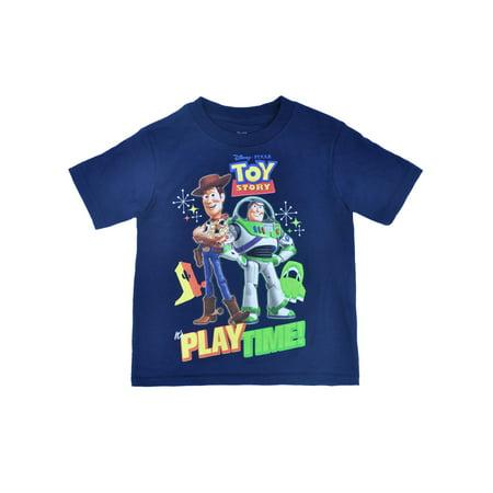 Boys Toy Story It's Play Time! T-Shirt Navy Blue Short (Navy Blue Kids Shirt)