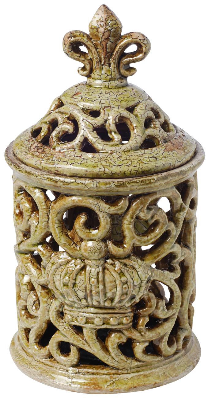A&B Home Saville Short Decorative Jar with Fleur-de-lis Finial, Antique Moss, 6.5 by 11-Inch by A&B Home