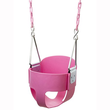 UBesGoo High Back Full Bucket Toddler Swing Seat with Plastic Coated Chains - Swing Set  Pink ()