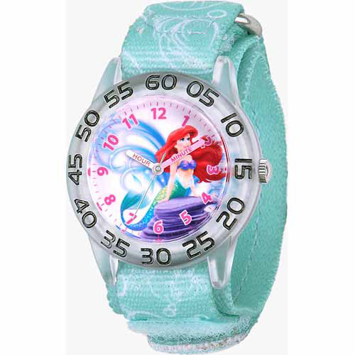Disney Little Mermaid Ariel Girls' Plastic Watch, Blue Strap