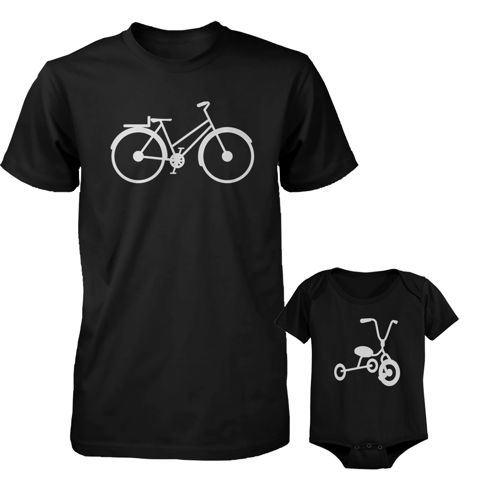 Bicycle Daddy Shirt And Tricycle Baby Onesie Matching Outfit Father's Day Gift