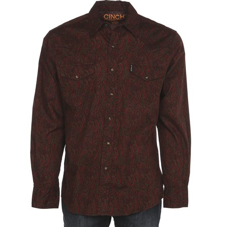 Cinch Apparel Mens  Red Paisley Long Sleeve Snap Shirt