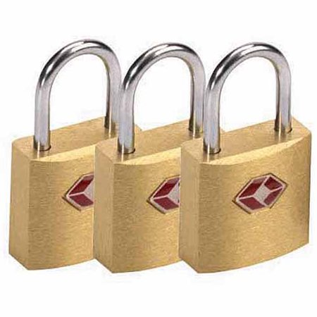 Lewis N. Clark Travel Sentry Mini Padlock, Brass Square, 3 Pack