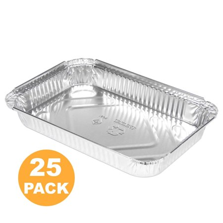 "Rectangular 4 lb 64 oz 12.5 x 8.5 x 2 25"" Disposable Aluminum Foil Pan Roasting Baking Tray Containers, Cake Cassarole Hot Cold Food Freezer Oven Safe [25 Pack]"